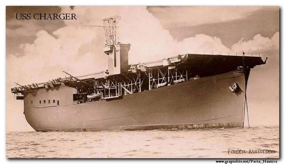 The American escort aircraft carrier USS CHARGER.