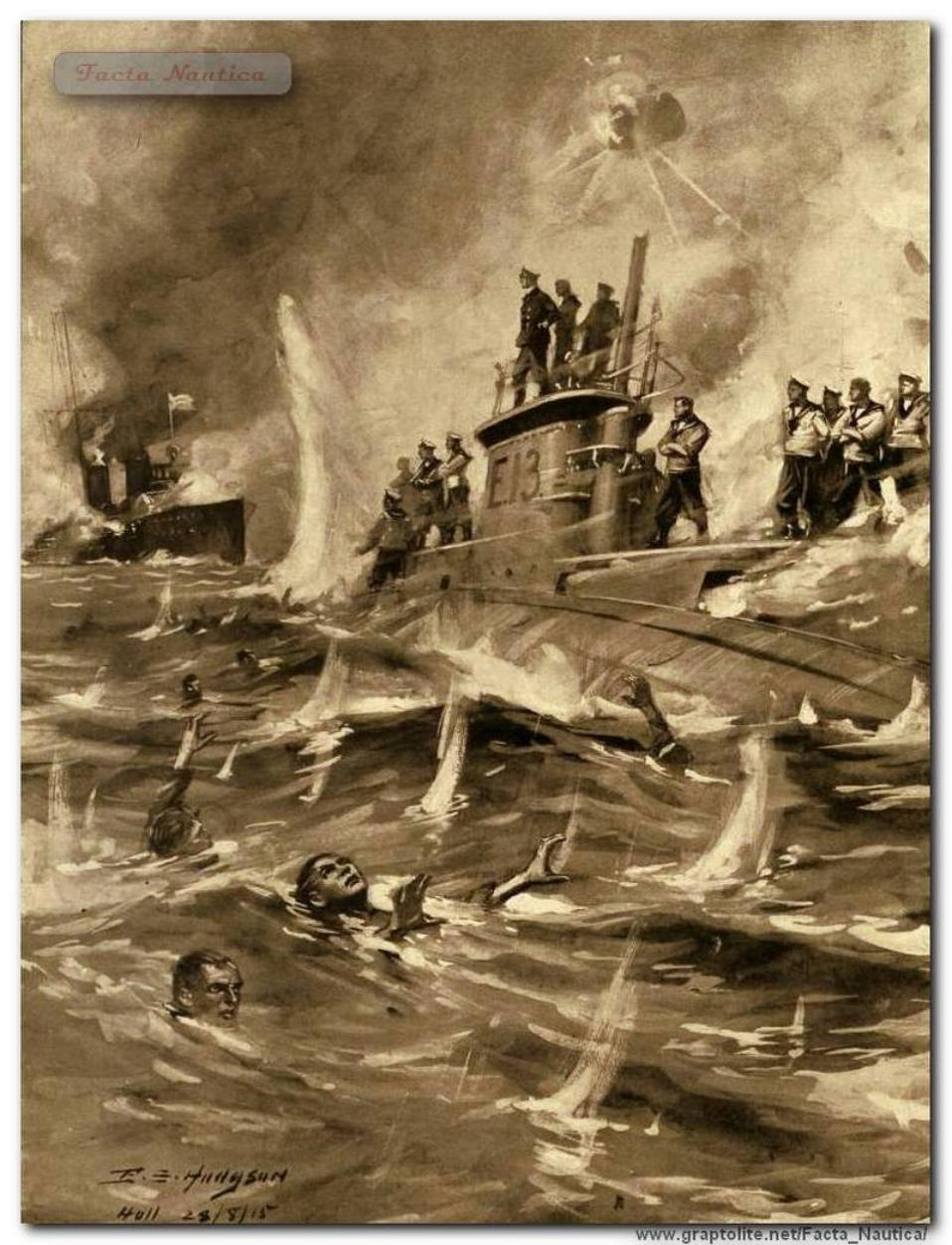 Brytyjski okr�t podwodny HMS E13 ostrzeliwany przez niemieckie torpedowce - 19 sierpnia 1915. 19 August 1915: The German torpedo boat attacks stranded British submarine HMS E13 in Danish waters and shoots crew.